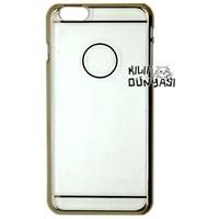iPhone 6 4.7'' Kılıf Sert Plastik Tam Şeffaf Kapak Altın