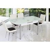 Gül Otamatik Masa Sandalye Takımı 6 Sandalyeli Sanpa Beyaz Siyah Oval 25185574
